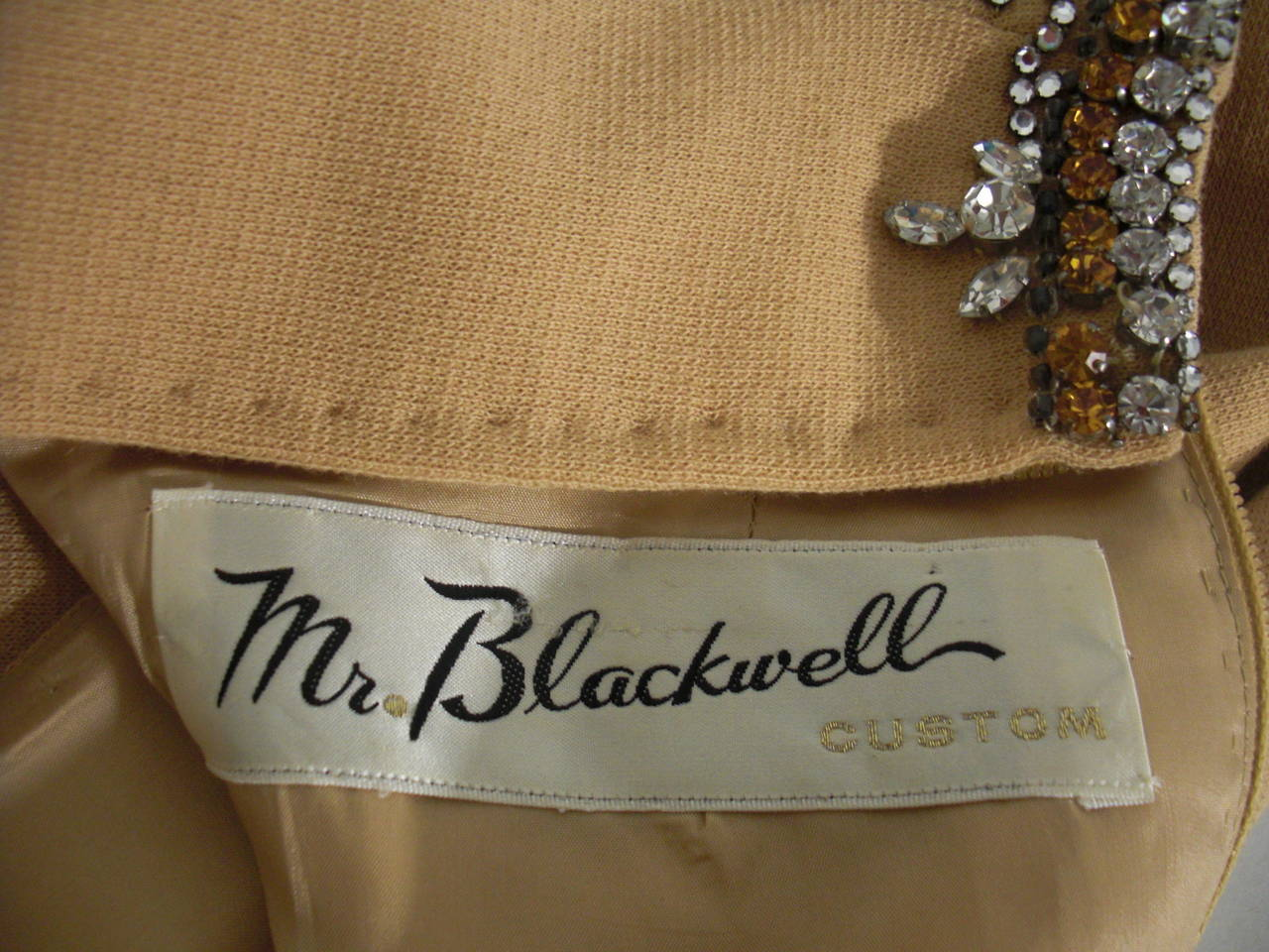 1960s Mr Blackwell Rhinestone Jeweled Knit Gown and Stole 7