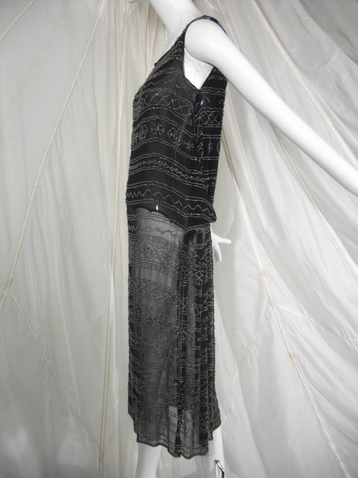 1920s Black Silk Flapper Dress with Elaborate Beading For Sale at ...