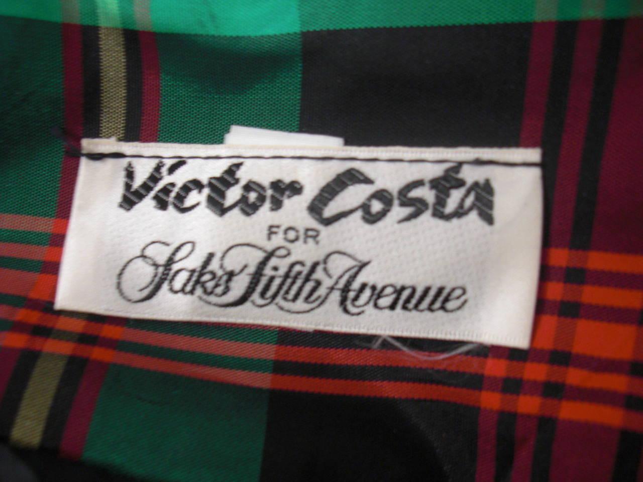 Victor Costa for SAKS 5th Avenue Green Plaid and Velvet Dress 8