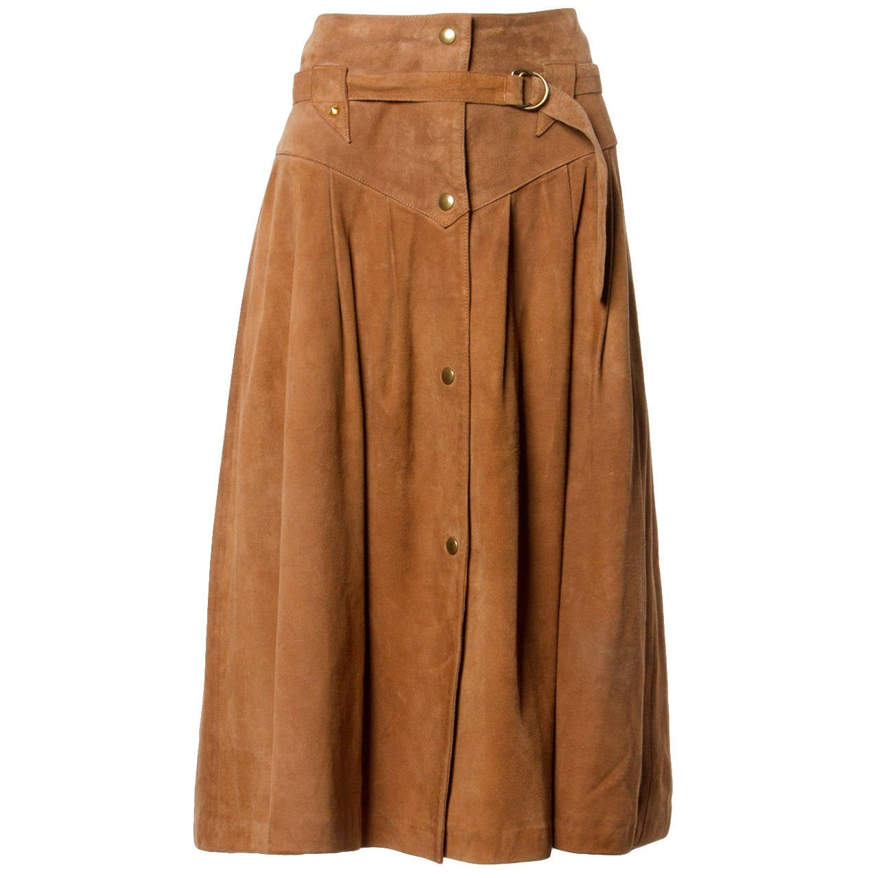 Claude Montana pour Ideal Cuir Vintage 1980s 80s Brown Leather Skirt For Sale