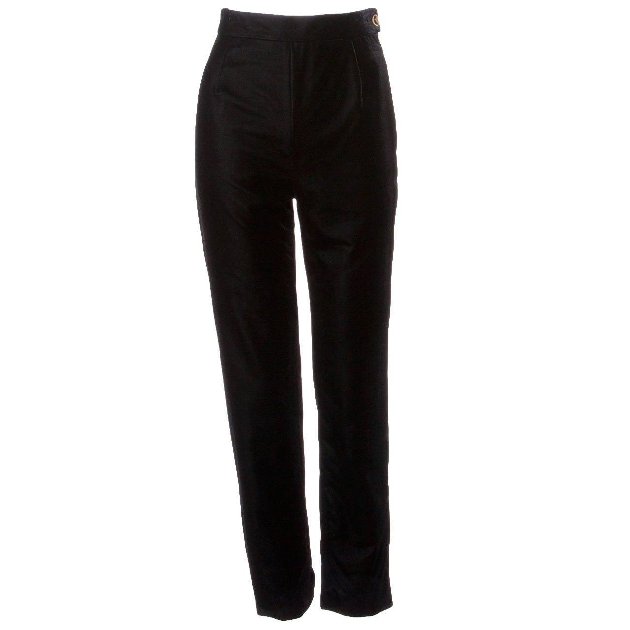 A/W 1993 Chanel Vintage Black Velvet High Waist Drainpipe Pants For Sale