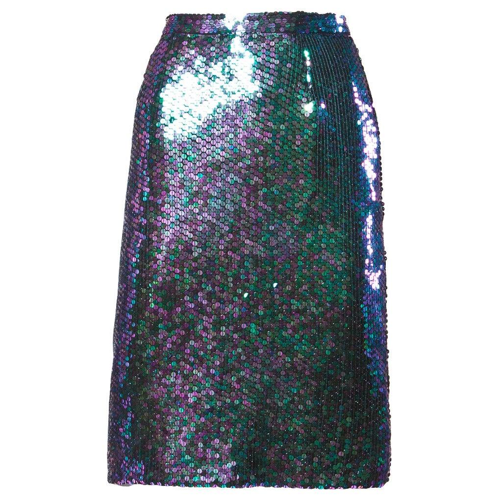 Vintage 1980s Jeanette for St Martin 1985 Sequin Top Green Purple Designer Mermaid Glam Medium Irridescent