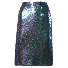 1985 Vintage Jeanette for St. Martin Iridescent Metallic Green Sequin Skirt