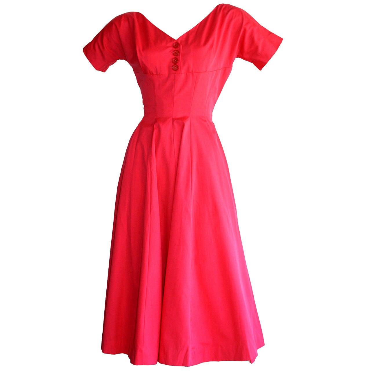 Pretty 1950s Vintage Anne Fogarty Raspberry Pink Full Skirt Button Dress
