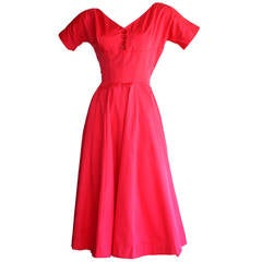Pretty 1950s Vintage Anne Fogarty Raspberry Pink Full Skirt Button Dress