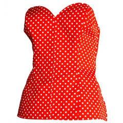 "Vintage Yves Saint Laurent "" Rive Gauche "" Polka Dot Red & White Corset Bustier"