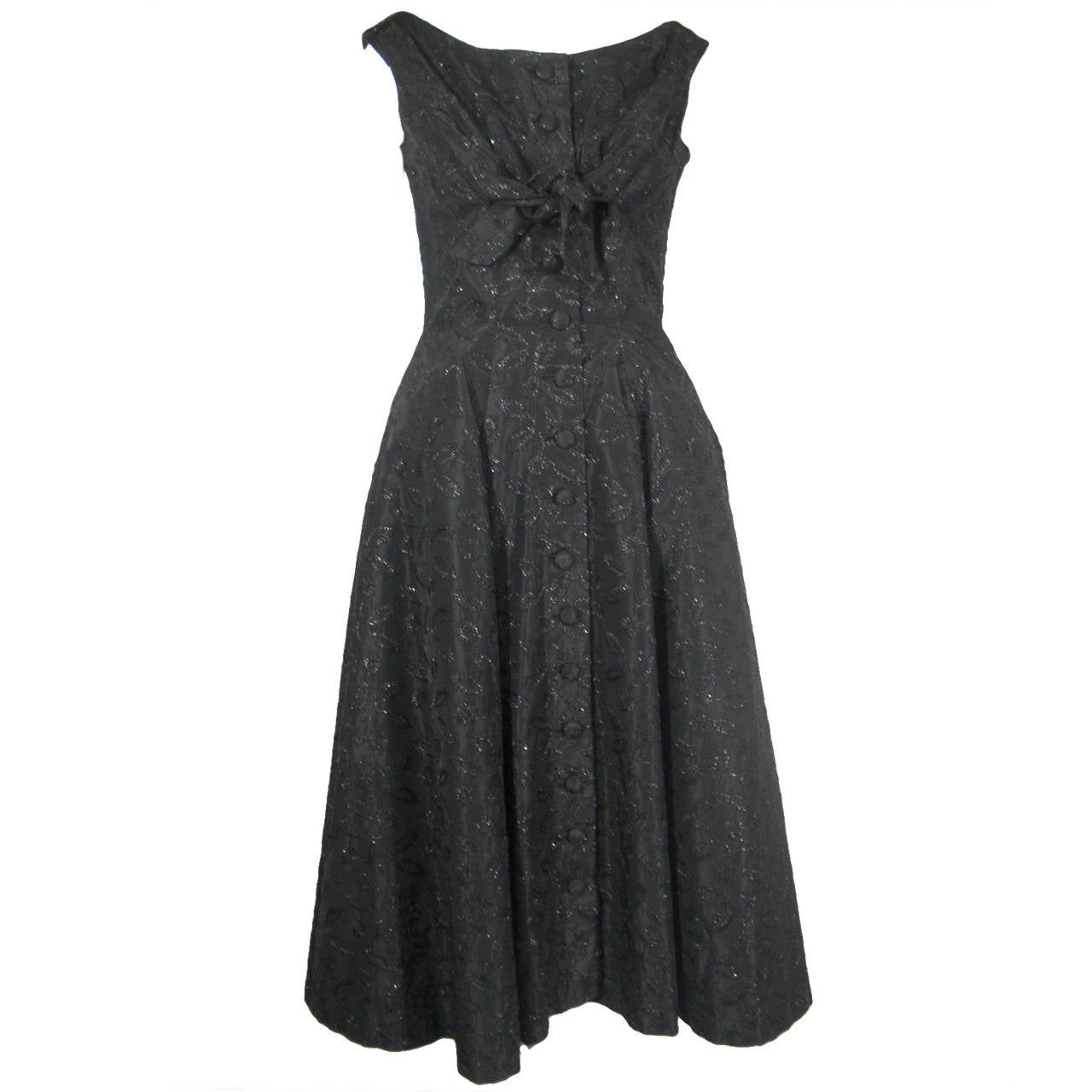 1950s Suzy Perette Black Button Front Dress with Embroidered Flowers