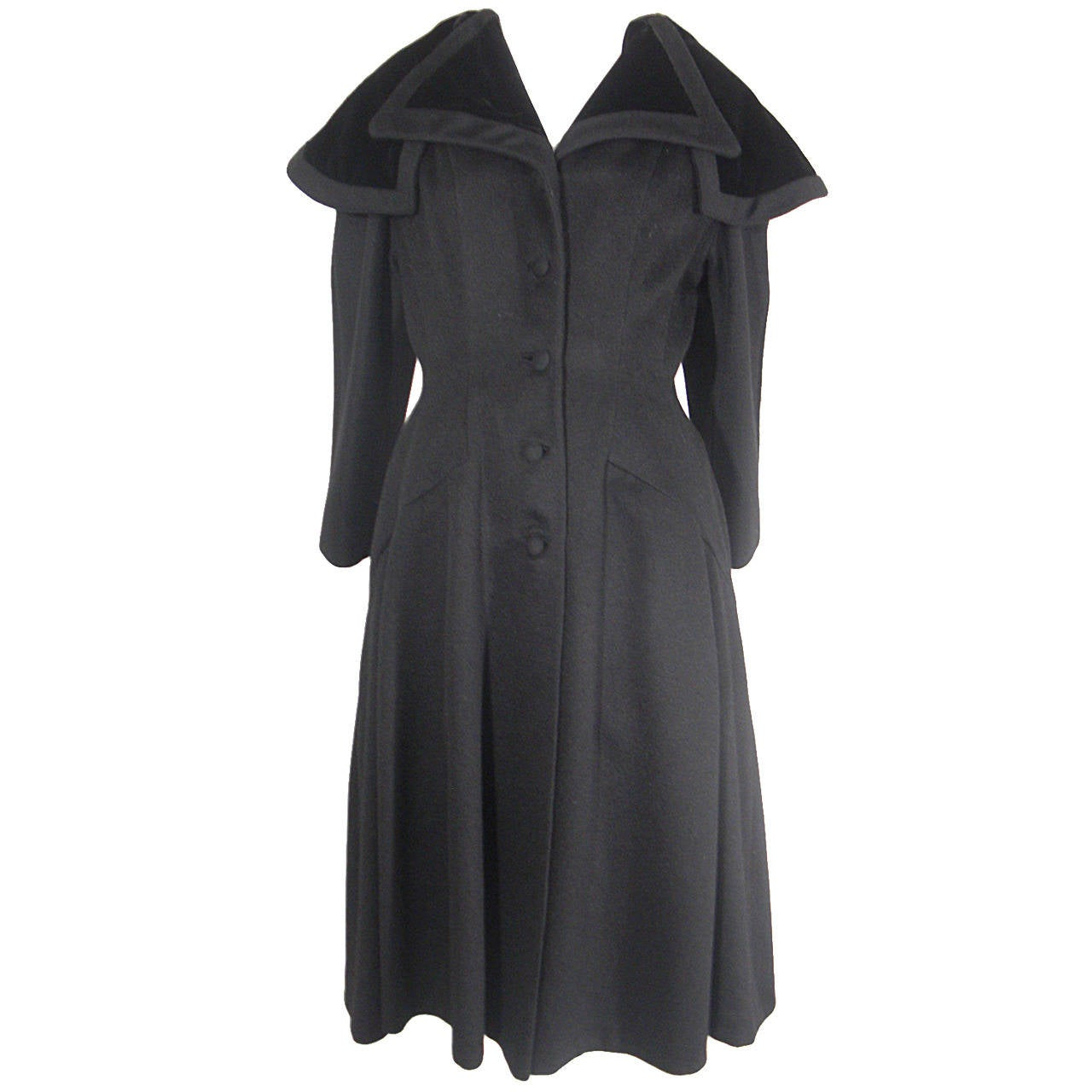 1950s Lilli Ann Fitted Black Coat with Dramatic Collar in Velvet ...