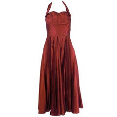 1950s Fred Perlberg Cranberry Red Halter Cocktail Dress