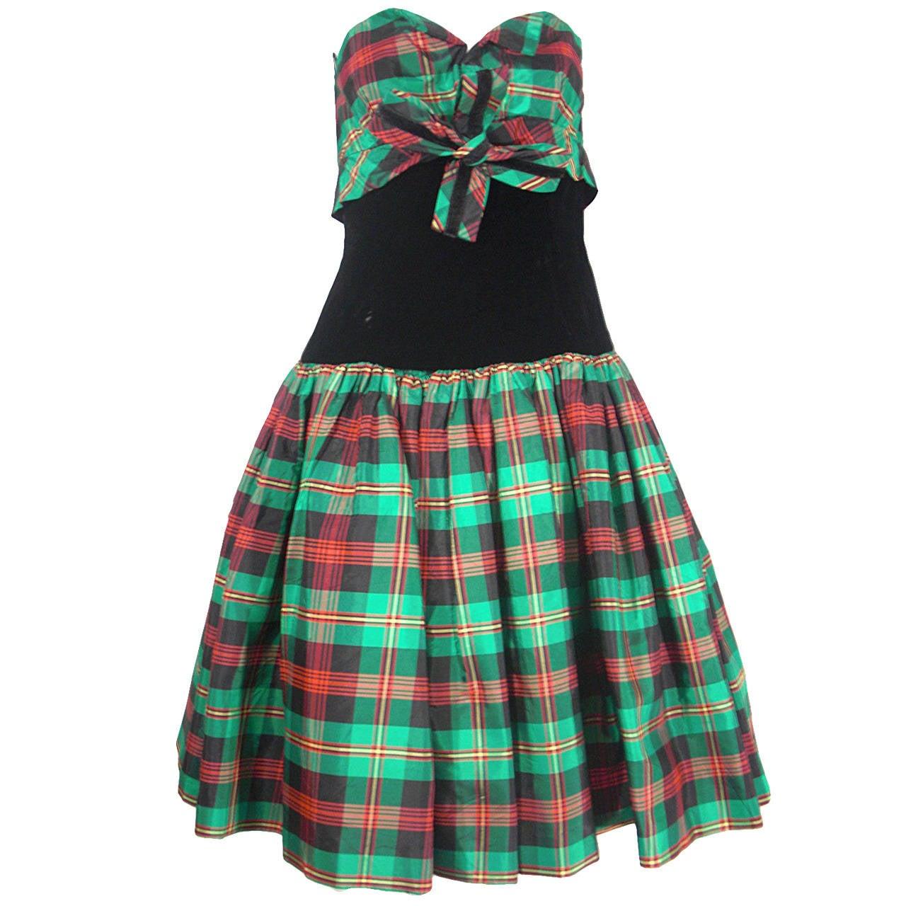 Victor Costa for SAKS 5th Avenue Green Plaid and Velvet Dress 1
