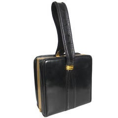 1950s Evans Black Leather Evening Bag with Brass Accessories
