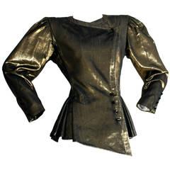 Vintage Emanuel Ungaro Metallic Gold Avant Garde Space Age Jacket