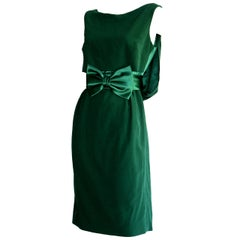 Beautiful Paola Quadretti Haute Couture 1960s Style Green Silk Dress & Bow Belt