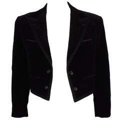 Comme des Garcons 1990s Mens Velvet Cropped Evening Jacket