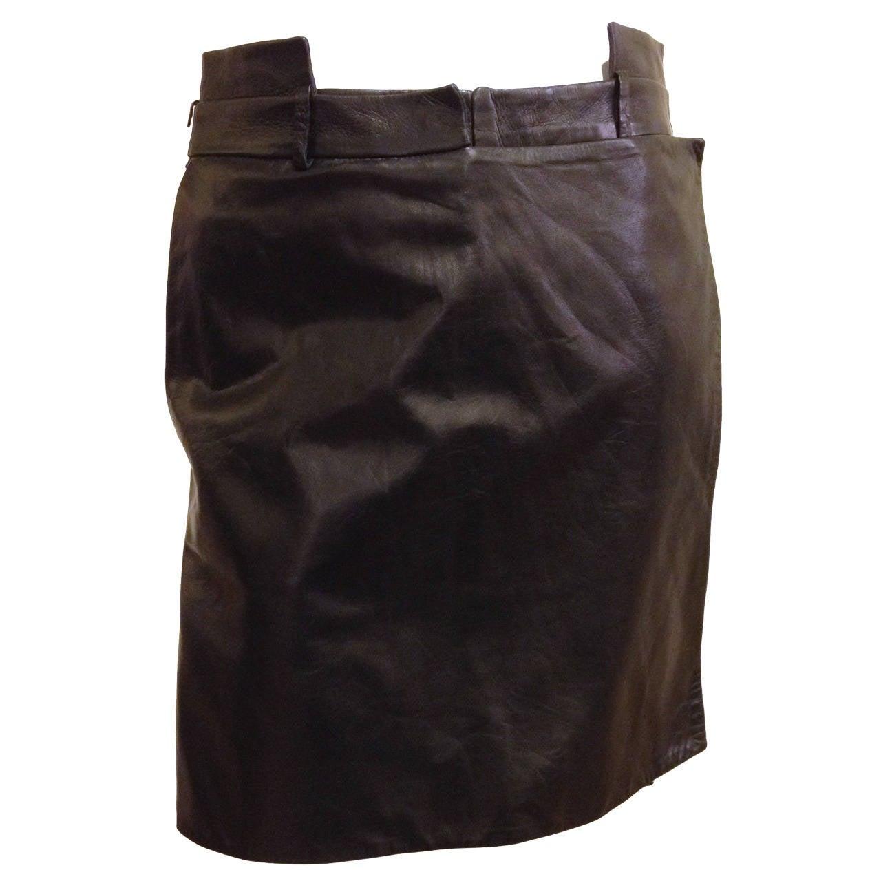 Givenchy Black Leather Skort 1