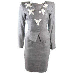 Vicky Tiel Linen and Wool Two Piece Jacket and Skirt Suit
