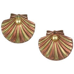 Trifari Retro Scallop Shell Clip Brooches