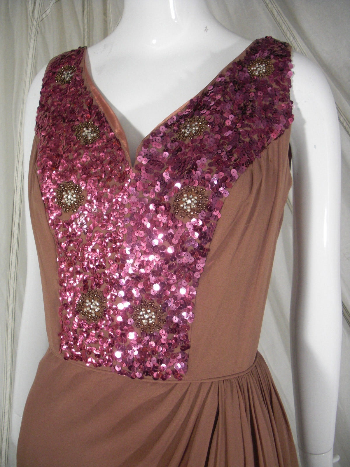 1960s Mocha Silk Chiffon and Sequin Cocktail Dress 6