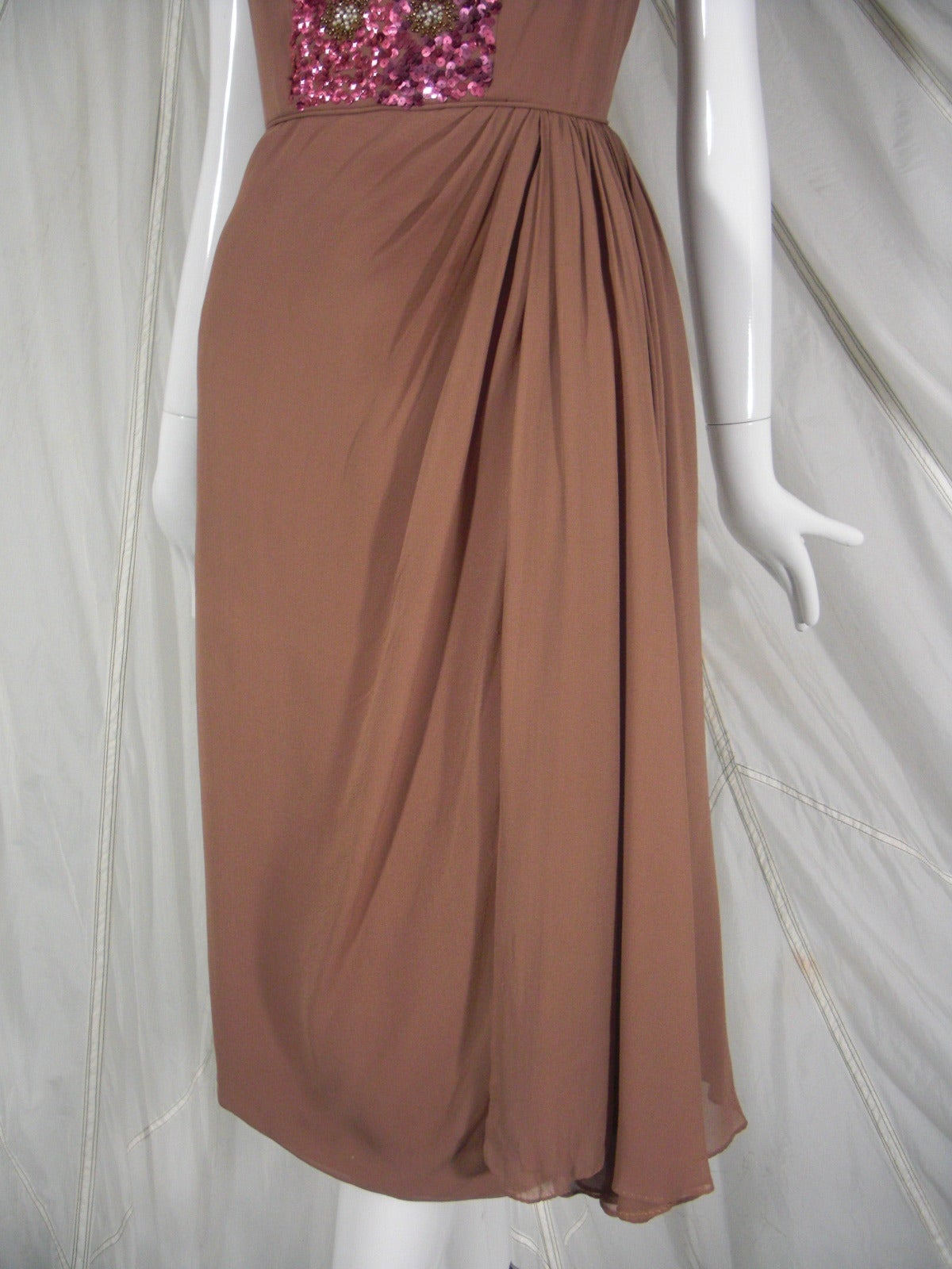 1960s Mocha Silk Chiffon and Sequin Cocktail Dress 5
