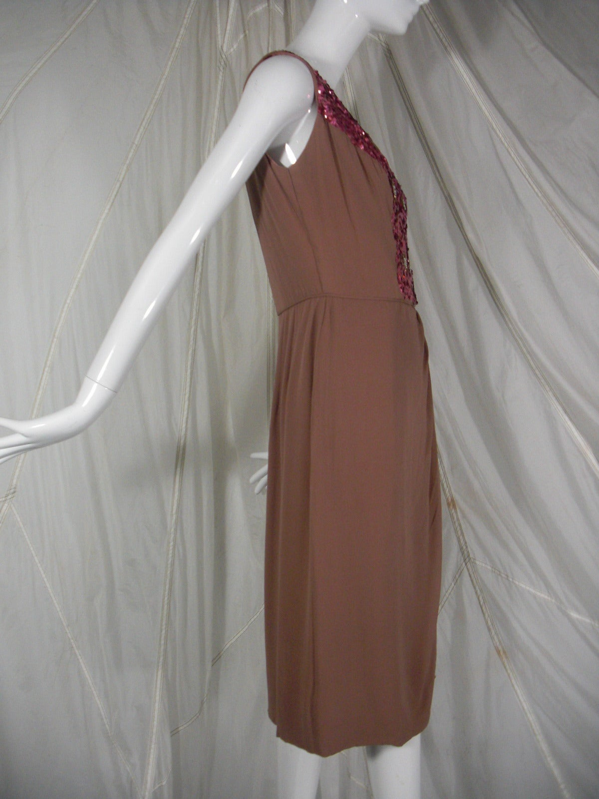 1960s Mocha Silk Chiffon and Sequin Cocktail Dress 2