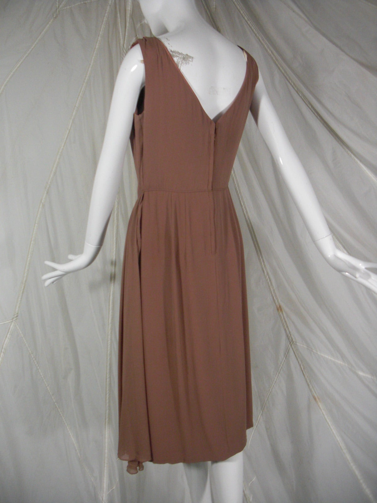 1960s Mocha Silk Chiffon and Sequin Cocktail Dress 3