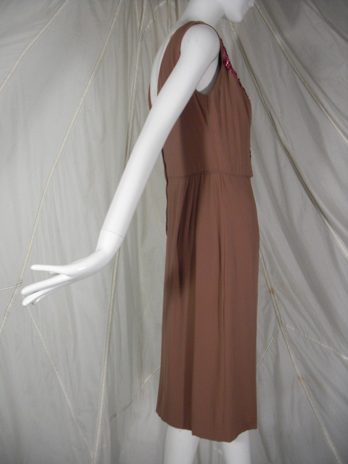 1960s Mocha Silk Chiffon and Sequin Cocktail Dress 4
