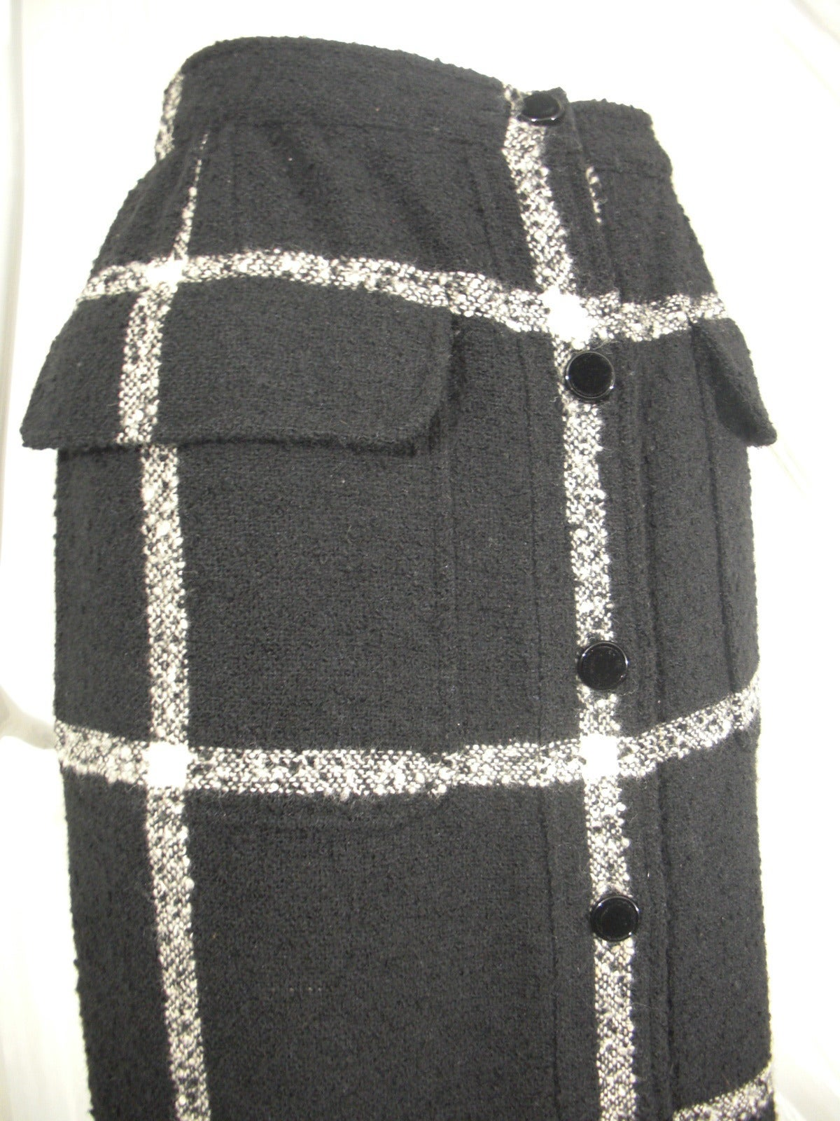 Black Valentino Window-Pane Wool Skirt with Button Closure and Fringe Hem For Sale