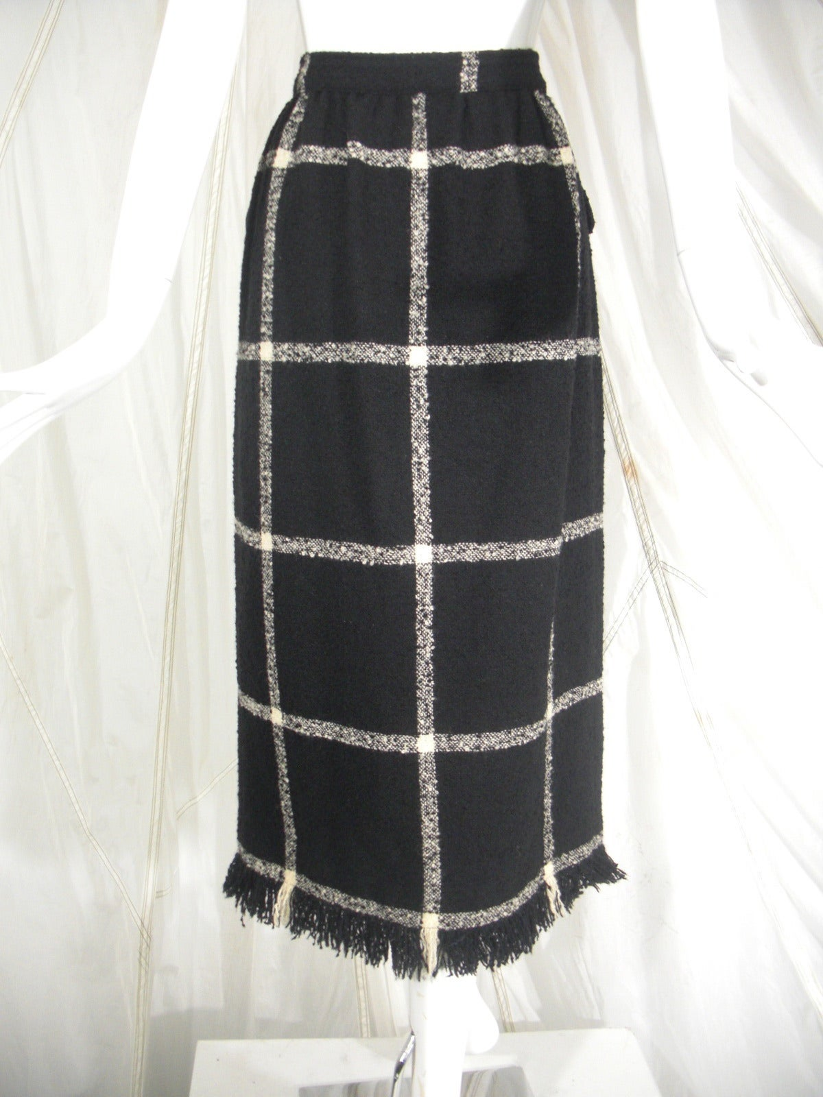 Valentino Window-Pane Wool Skirt with Button Closure and Fringe Hem In Excellent Condition For Sale In San Francisco, CA