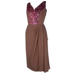 1960s Mocha Silk Chiffon and Sequin Cocktail Dress
