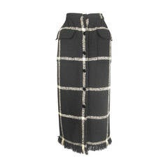 Valentino Window-Pane Wool Skirt with Button Closure and Fringe Hem