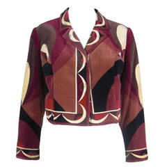 1970s Pucci Print Cotton Velveteen Cropped Jacket