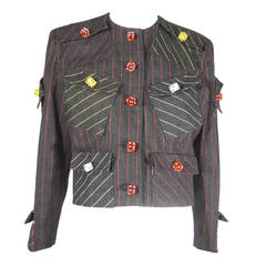 "1980s Patrick Kelly ""High Roller"" Pinstripe Wool Jacket with Lucite Dice Detail"