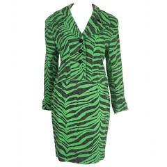 1980s Todd Oldham Electric Zebra Print Suit w/ Black Rhinestone Studs