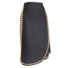 1970s Adolfo Wool Felt Wrap Skirt with Gold Studding
