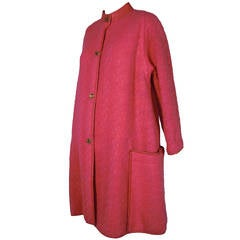 1960s Bonnie Cashin Lipstick Pink Wool Tweed Leather Trimmed Coat