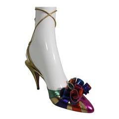 1980s Beverly Feldman Metallic Foil Ankle-Tie Party Shoes w/ Extravagant Toe