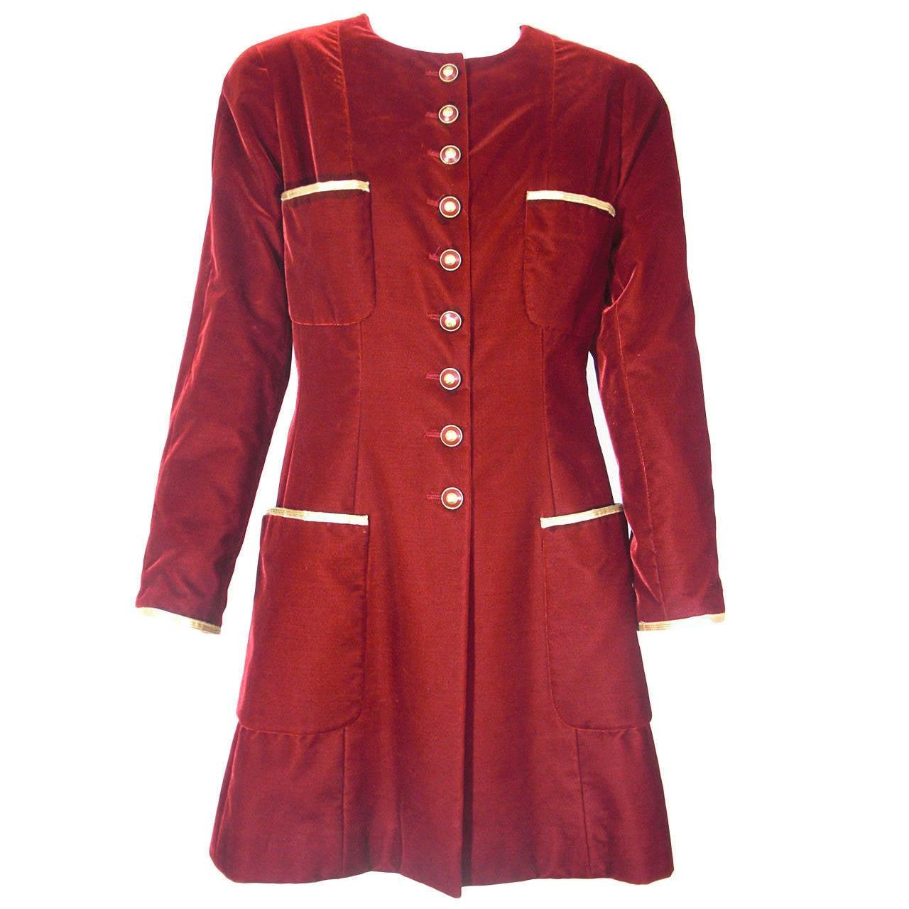 "Autumn 1993 Chanel Crimson Velvet ""Napoleon"" Style Riding Jacket"