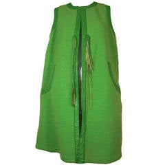 1960s Bonnie Cashin Apple Green Wool and Leather Trimmed Vest