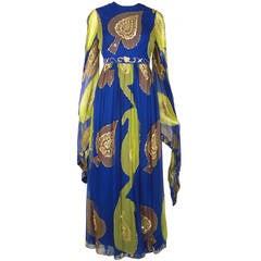 1960s Nan Duskin Silk Chiffon Sequined Sari-Inspired Gown