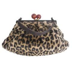 1950s Morris Moskowitz Faux Leopard Fur Handbag with Resin Closure