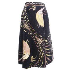1970s Emilio Pucci Cotton Velveteen Pleated Print Skirt
