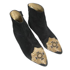 1980s Gianni Versace Bullion Embroidered Flat Bootie with Maltese Cross