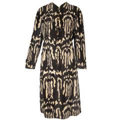 1960s Adele Simpson Faux Skunk Fur Button Down Dress w/ Nehru Collar