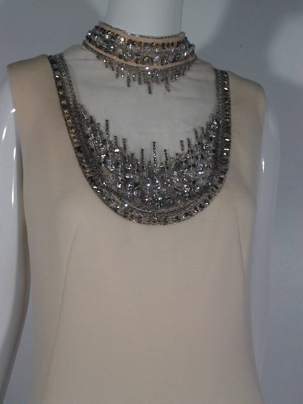 Mr Blackwell Cocktail Dress with Nude Panel and Elaborate Rhinestones 5