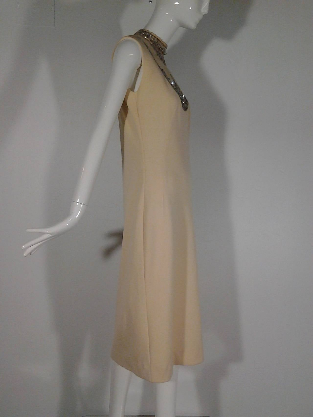 Mr Blackwell Cocktail Dress with Nude Panel and Elaborate Rhinestones 2