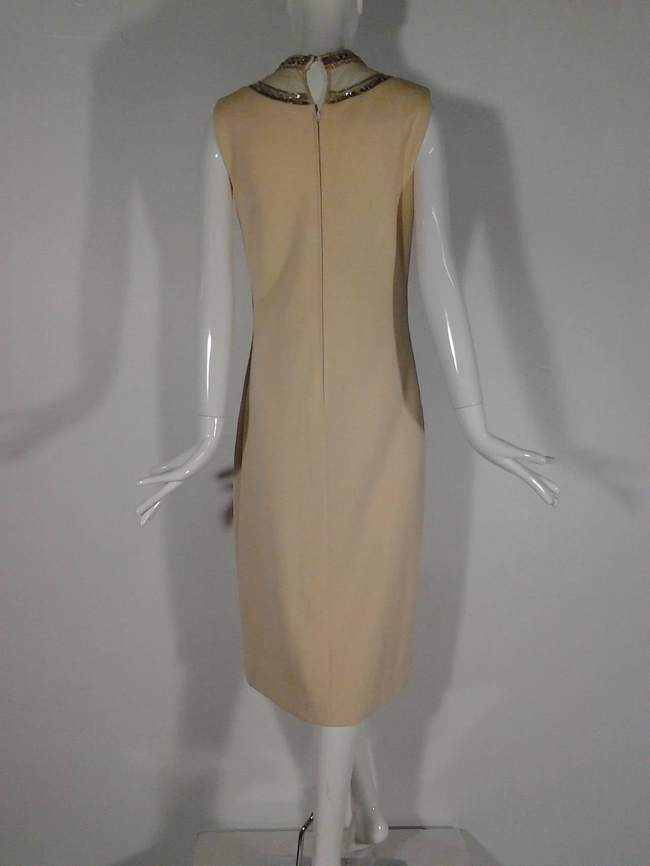 Mr Blackwell Cocktail Dress with Nude Panel and Elaborate Rhinestones 4
