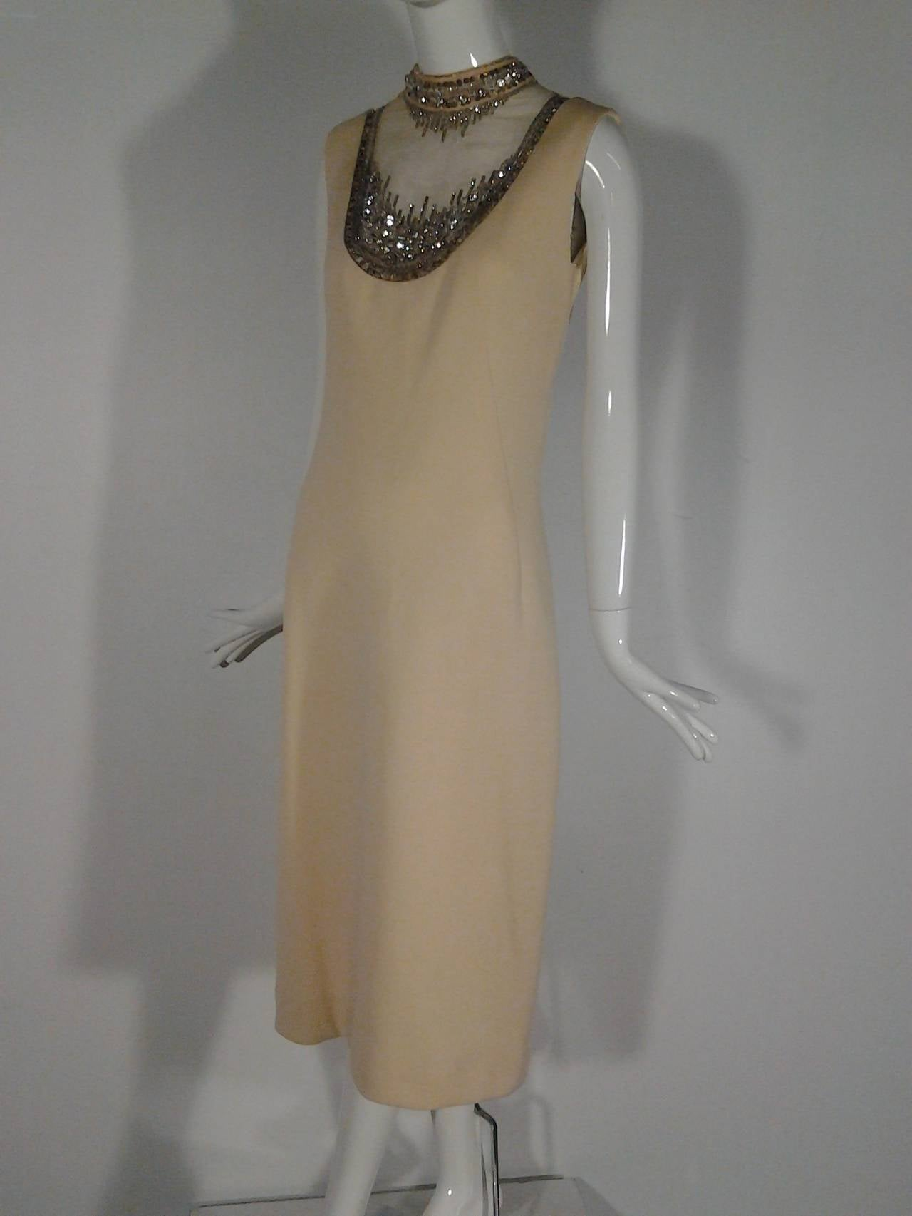 Mr Blackwell Cocktail Dress with Nude Panel and Elaborate Rhinestones 3