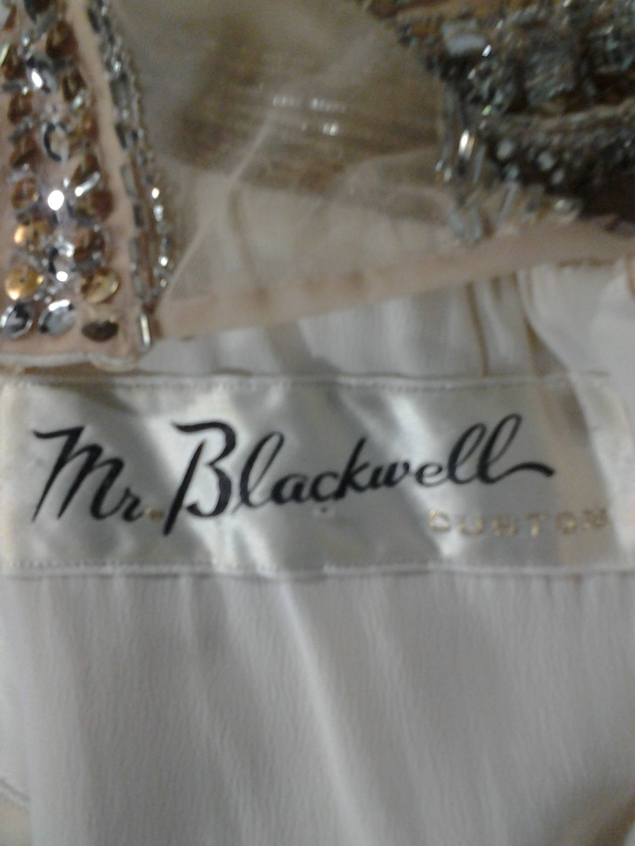 Mr Blackwell Cocktail Dress with Nude Panel and Elaborate Rhinestones 6
