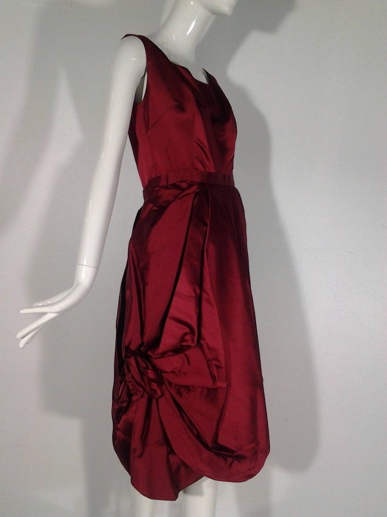 1950s Nan Duskin Red Cocktail Dress Featuring Floral Inspired Draped Skirt 2