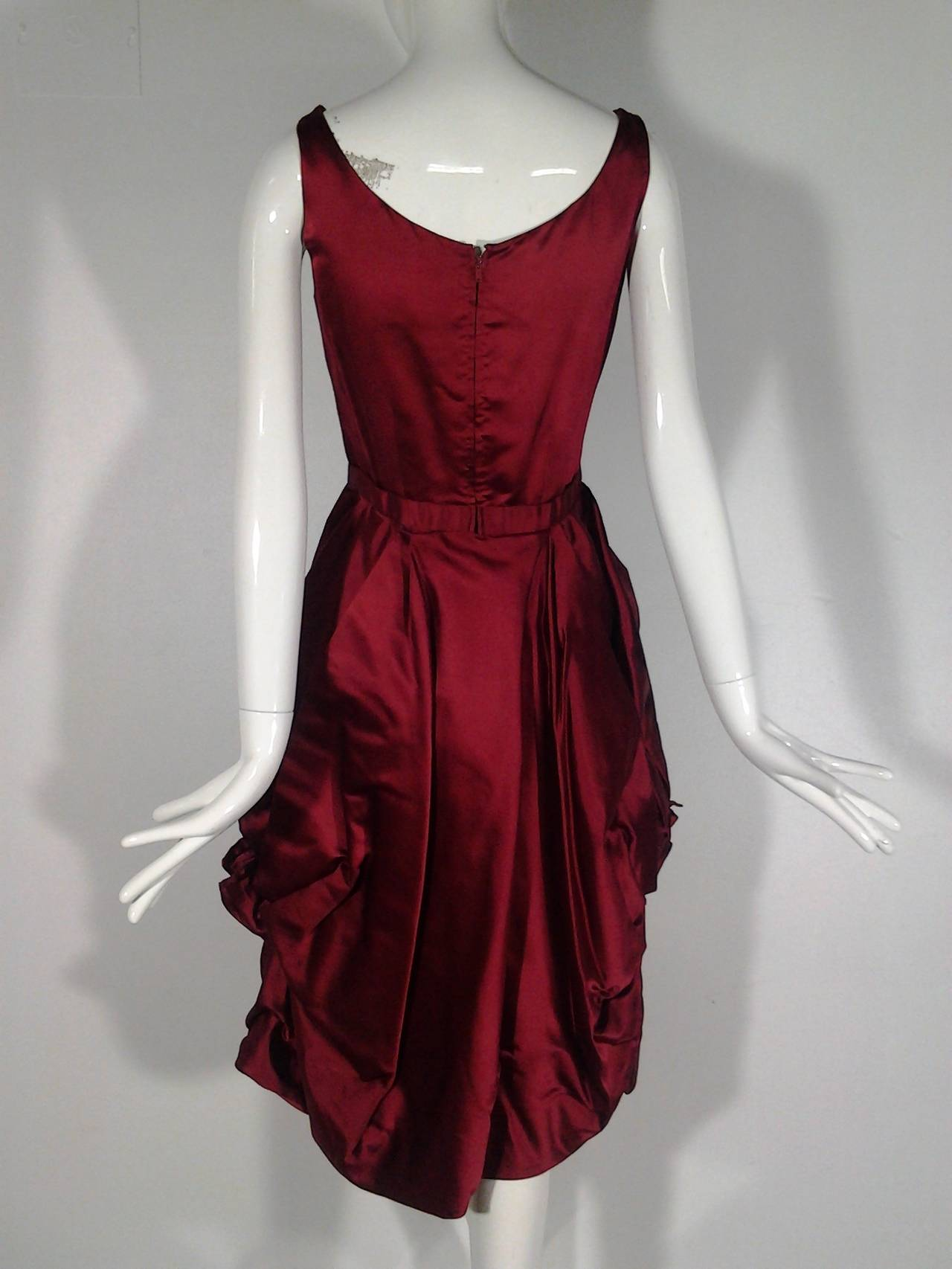 1950s Nan Duskin Red Cocktail Dress Featuring Floral Inspired Draped Skirt 4